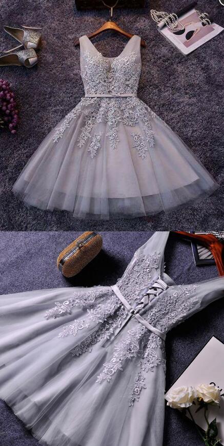 140d2aff35 ... Grey V Neck Lace short prom dress