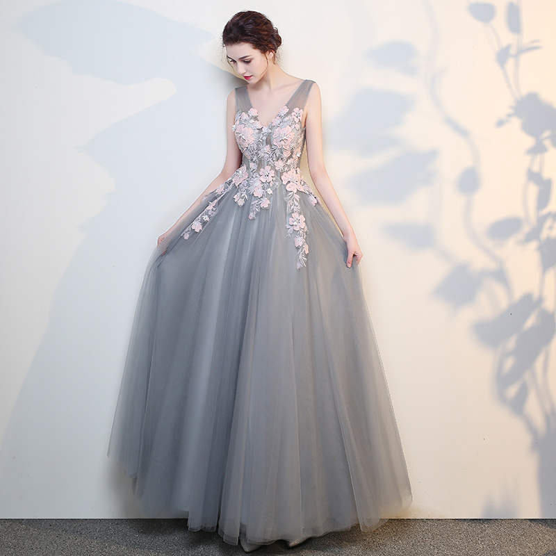 a3ee9f9c9d32 Gray v neck tulle lace long prom dress, gray evening dress · Little ...