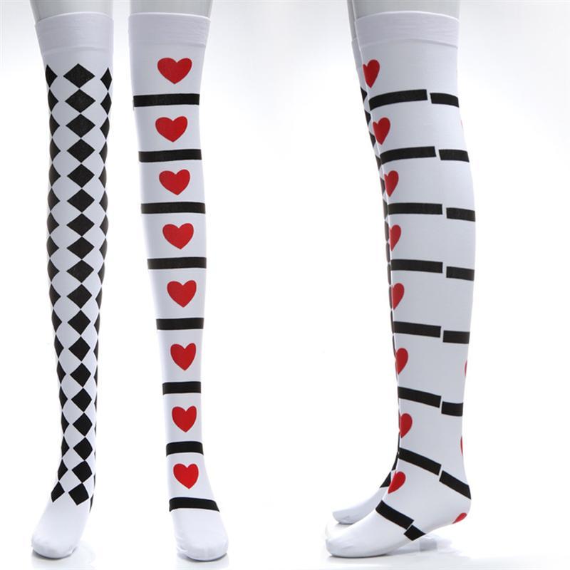 ccff8194504 ... black white diamond checkered red heart print nylon over the knee thigh  high long socks kawaii