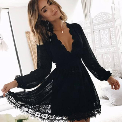 19c3d08ce9c Fashion long sleeves v neck black lace homecoming dresses short prom hoco  dress party dress