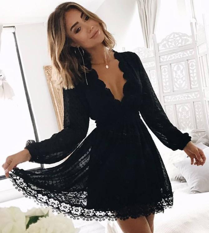 40015faa327f Fashion Long Sleeves V Neck Black Lace Homecoming Dresses Short Prom Hoco  Dress Party Dress