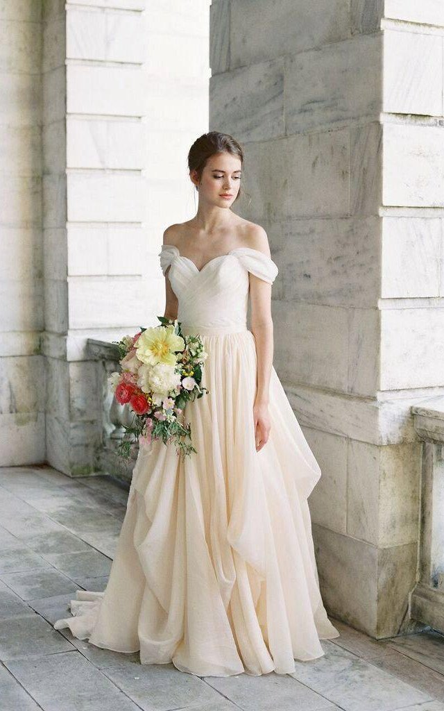 5b22c0fa645 A line Chiffon Sweetheart Summer Wedding Dress · Sancta Sophia ...