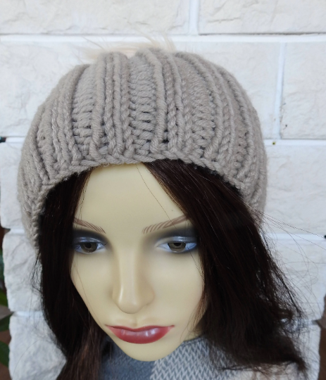 24497fde14db2 Knitted Women s Camel Coloured Ribbed Winter Hat With A Cream Faux Fur  Pompom - FREE SHIPPING