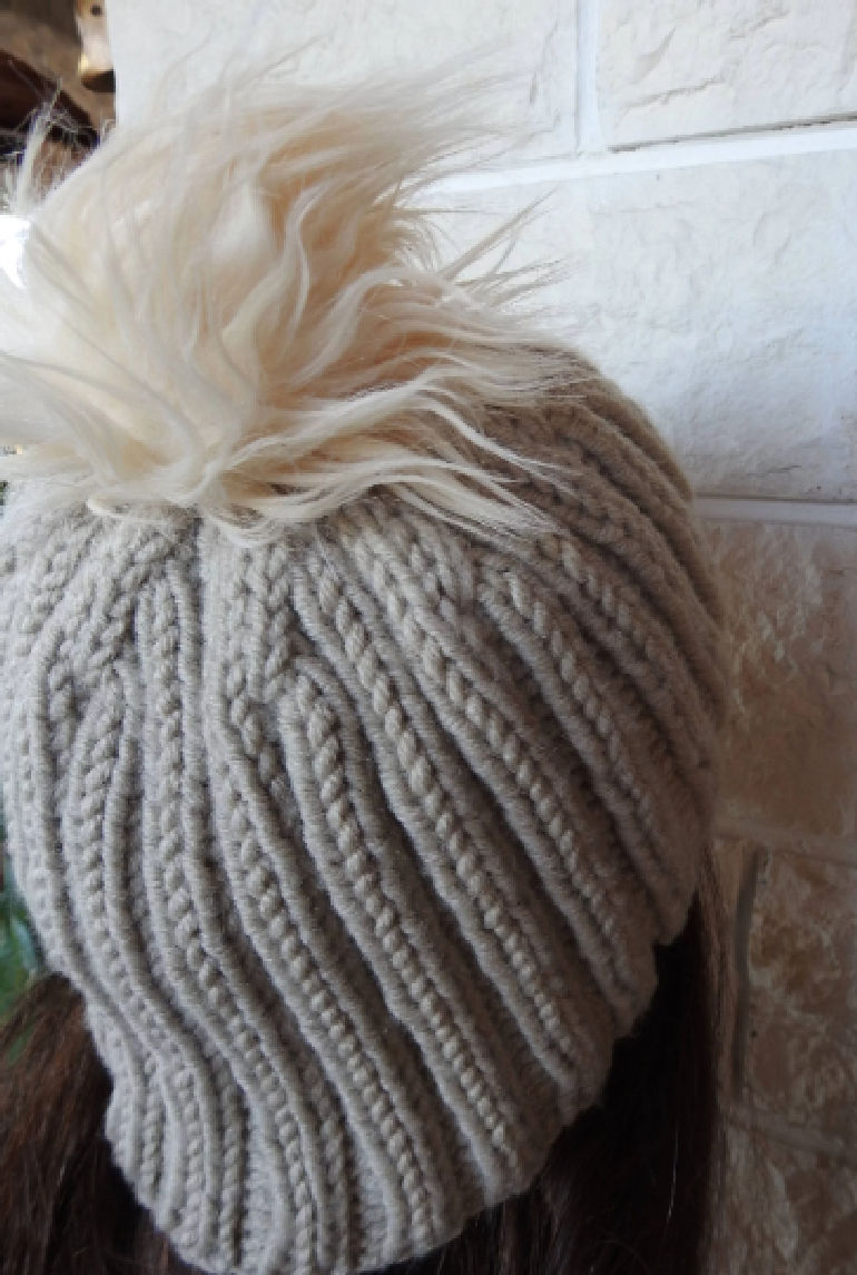 4bf0945c7b558 ... Knitted Women s Camel Coloured Ribbed Winter Hat With A Cream Faux Fur  Pompom - FREE SHIPPING
