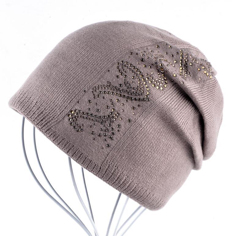 e47bd7c6ed4 ... Rhinestone Solid Knitted Beanie Caps Women Autumn And Winter Beanies  Bonnet Female Hiver Bonnets Femmes Girls ...