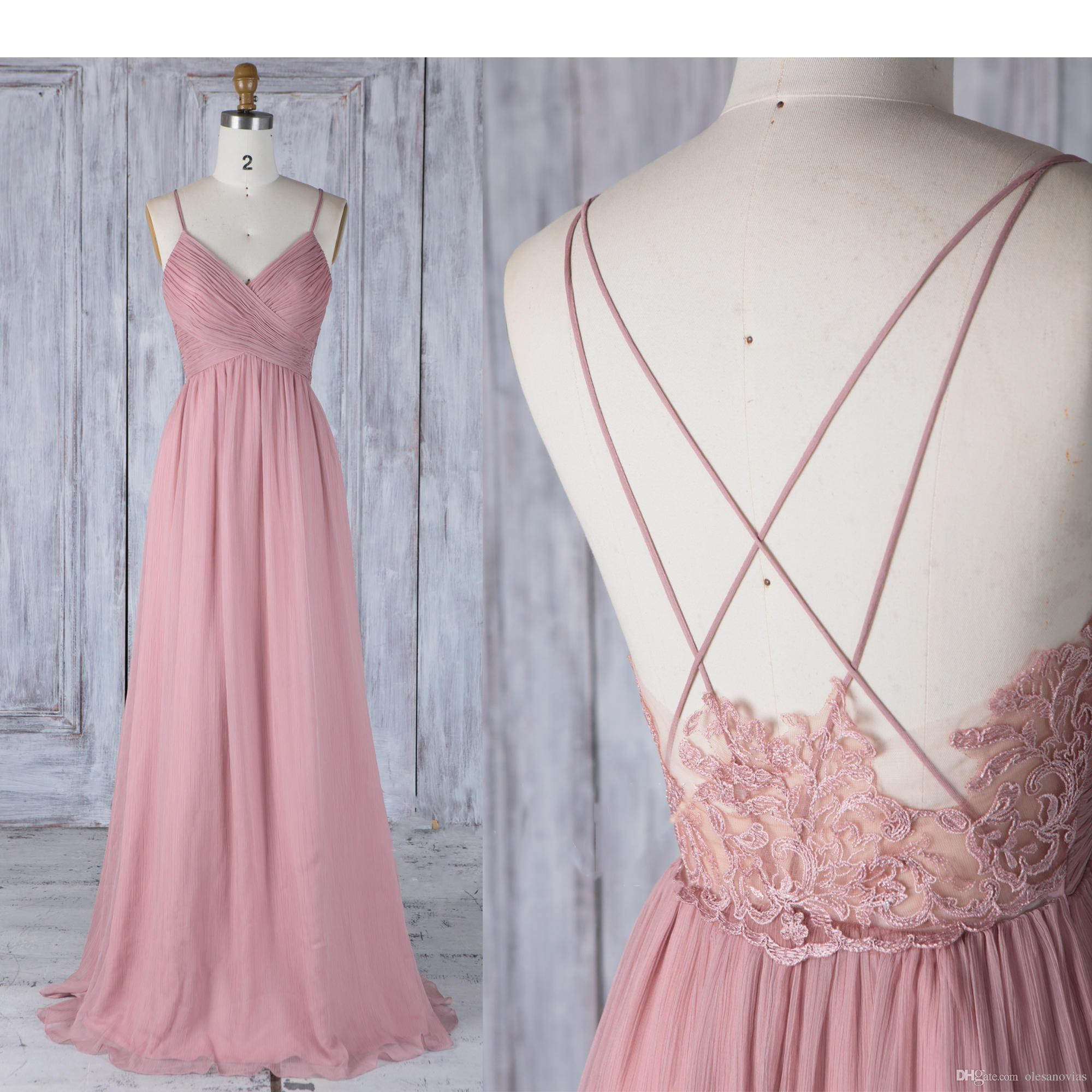 30ba0f3306c Bridesmaid Dress Dusty Rose Chiffon Wedding Dress