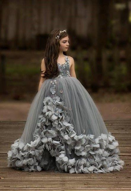 29309d2d8 Grey Girls Pageant Gowns Petals Ball Gown Flower Girl Dress Girls ...
