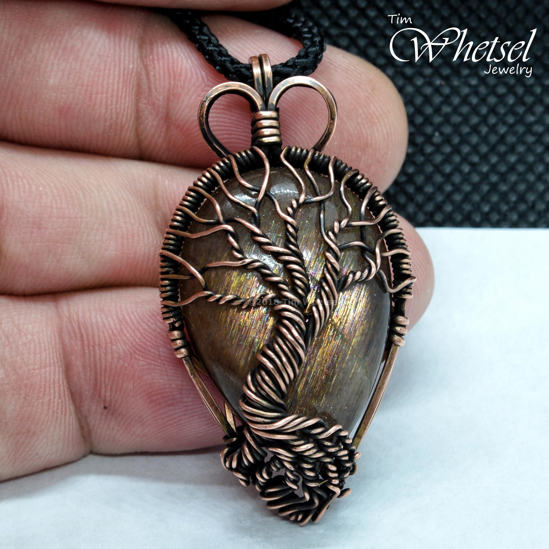 Sunstone Tree of Life Copper Pendant