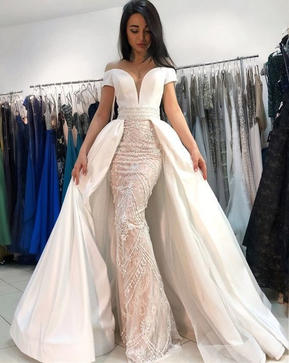 11e7352d95 2018 Mermaid Off Shoulder Formal Evening Dresses Sweetheart Neckline Beaded Prom  Dress Gorgeous White Floor Length