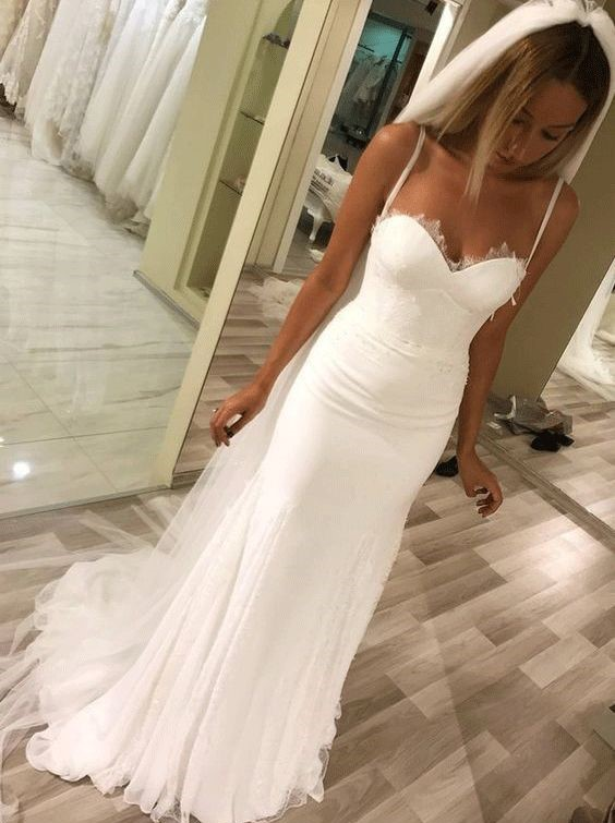 e991d756636a5 White Mermaid Lace Wedding Dress Spaghetti Straps Sweetheart Neckline Floor  Length Tulle Cheap Bridal Gown