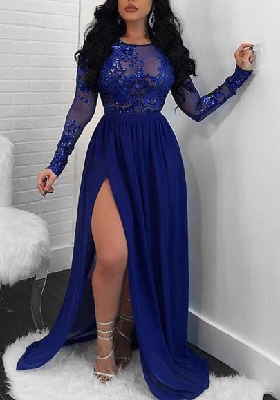 974d5623f1fda Sparkling A-Line Royal Blue Evening Dress Long Sleeve Lace ...