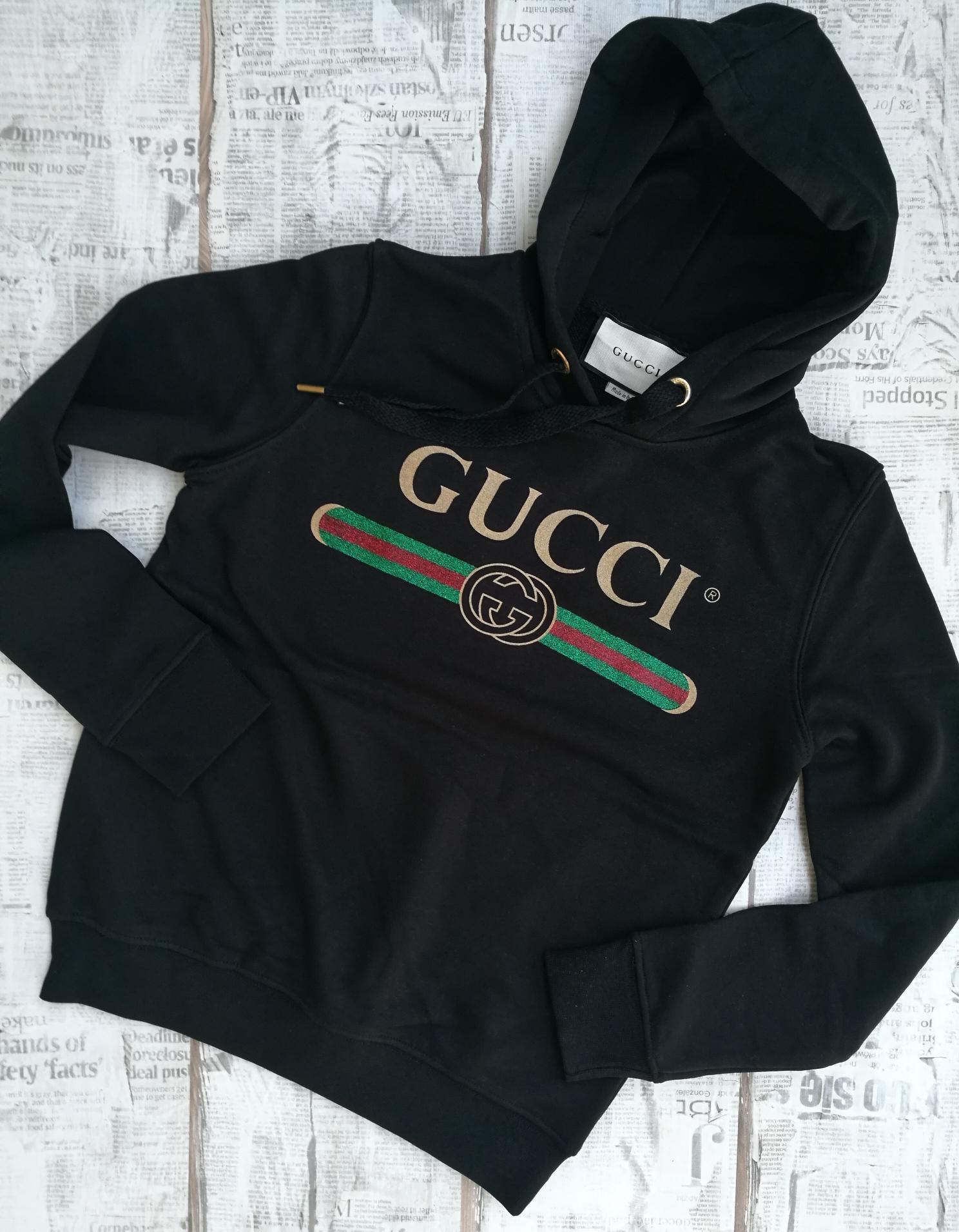 7b257165 Gucci Women's Hooded Gucci Logo Cotton Sweatshirt