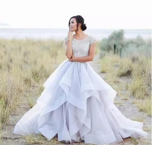 A Line Wedding Dresses.Charming A Line Wedding Dresses Sparkly Beading Top Organza Ruffles Bridal Dresses Short Sleeves Wedding Gowns From Wedding Store