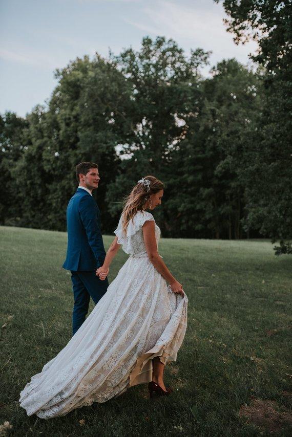 Bohemian Lace Wedding Dressruffled Open Back Beige Lace Wedding
