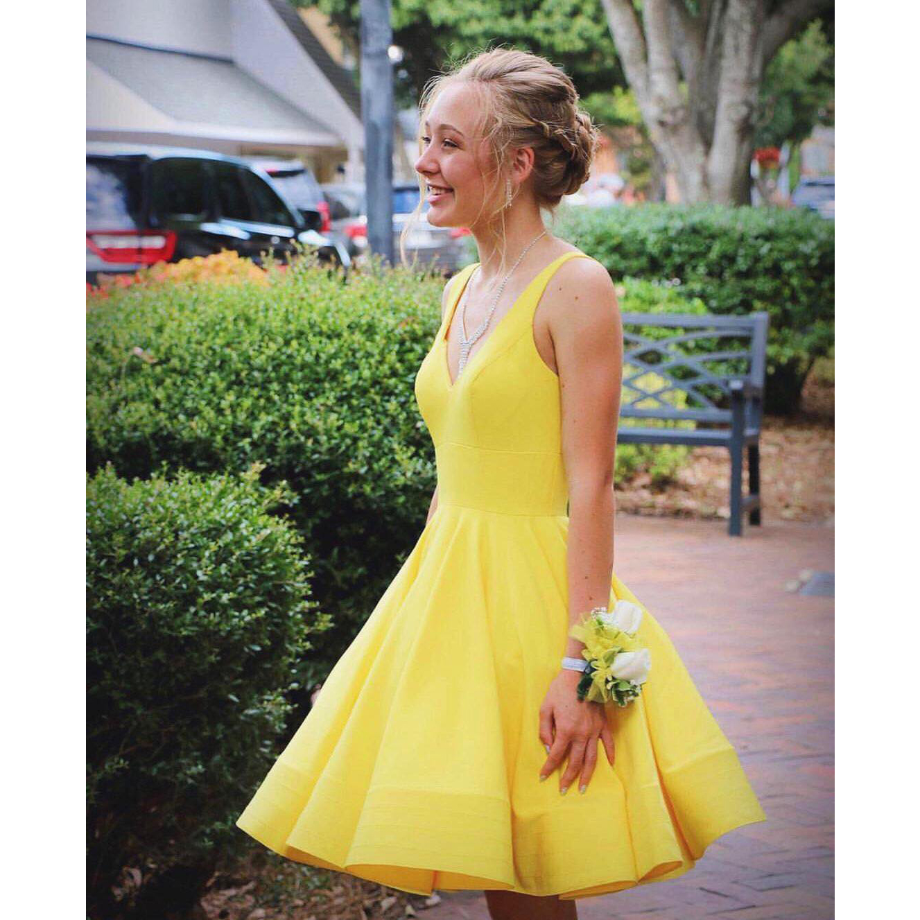 f043691dbaf Pretty Yellow Short Prom Dress V-Neck Straps Open Back Knee Length Ruffles Homecoming  Dresses