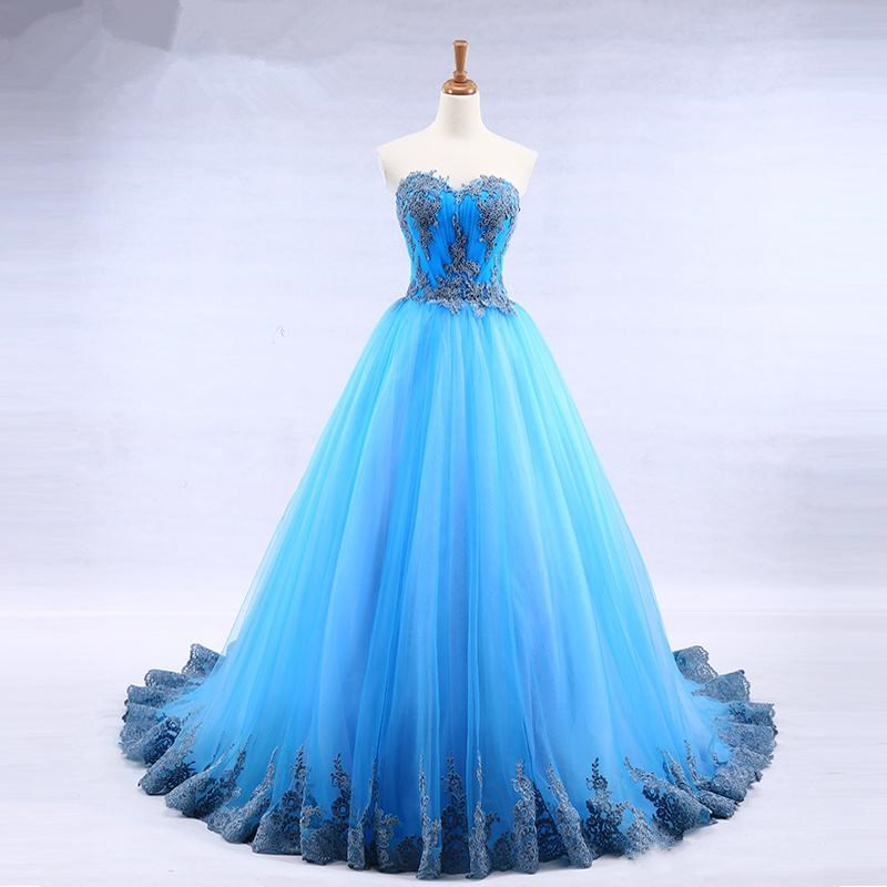 87ee8b851f Bright blue tulle sweetheart neck long strapless a line senior prom dress  with appliqué on Storenvy