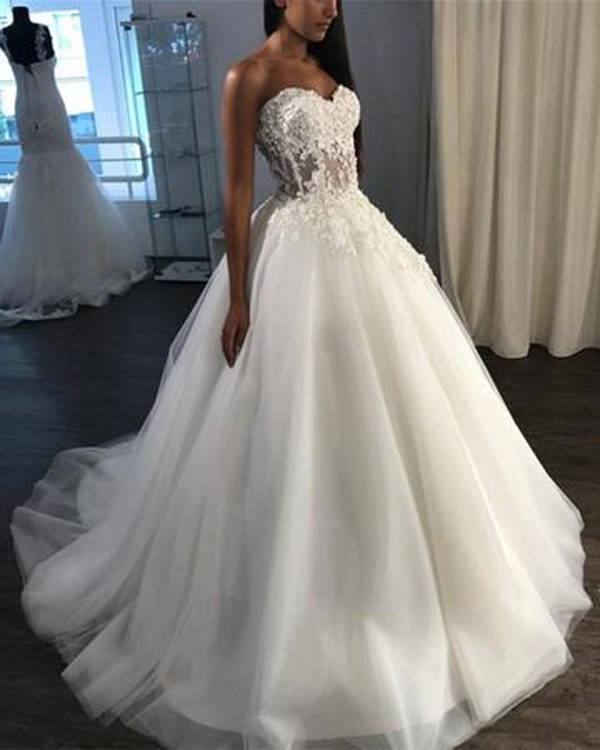 Corset Wedding Dresses.Noble Special Occasion Wedding Dresses Lace Appliques Sleeveless Sweetheart See Through Corset Tulle Backless Long Skirt Wedding Gowns From Mrtang