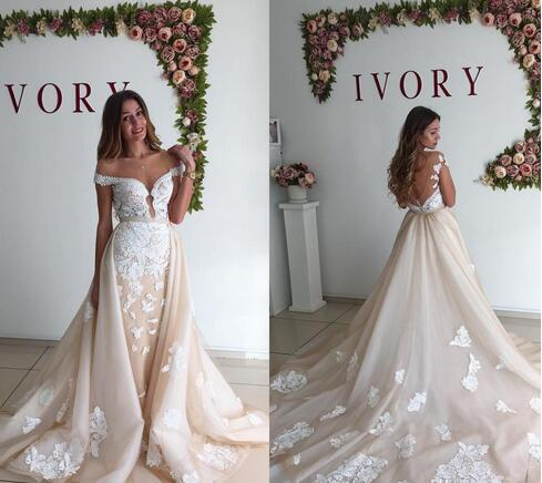 a7e0f1f73de0 New Arrival Champagne Wedding Dresses with Detachable Train Backless Sexy Off  Shoulder Applique Lace Wedding Bridal
