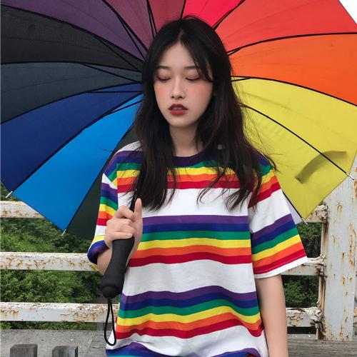 65d51b247 Tee Shirt Woman Summer Tops Korean Ulzzang Harajuku Rainbow Striped T-shirt  For Women Short