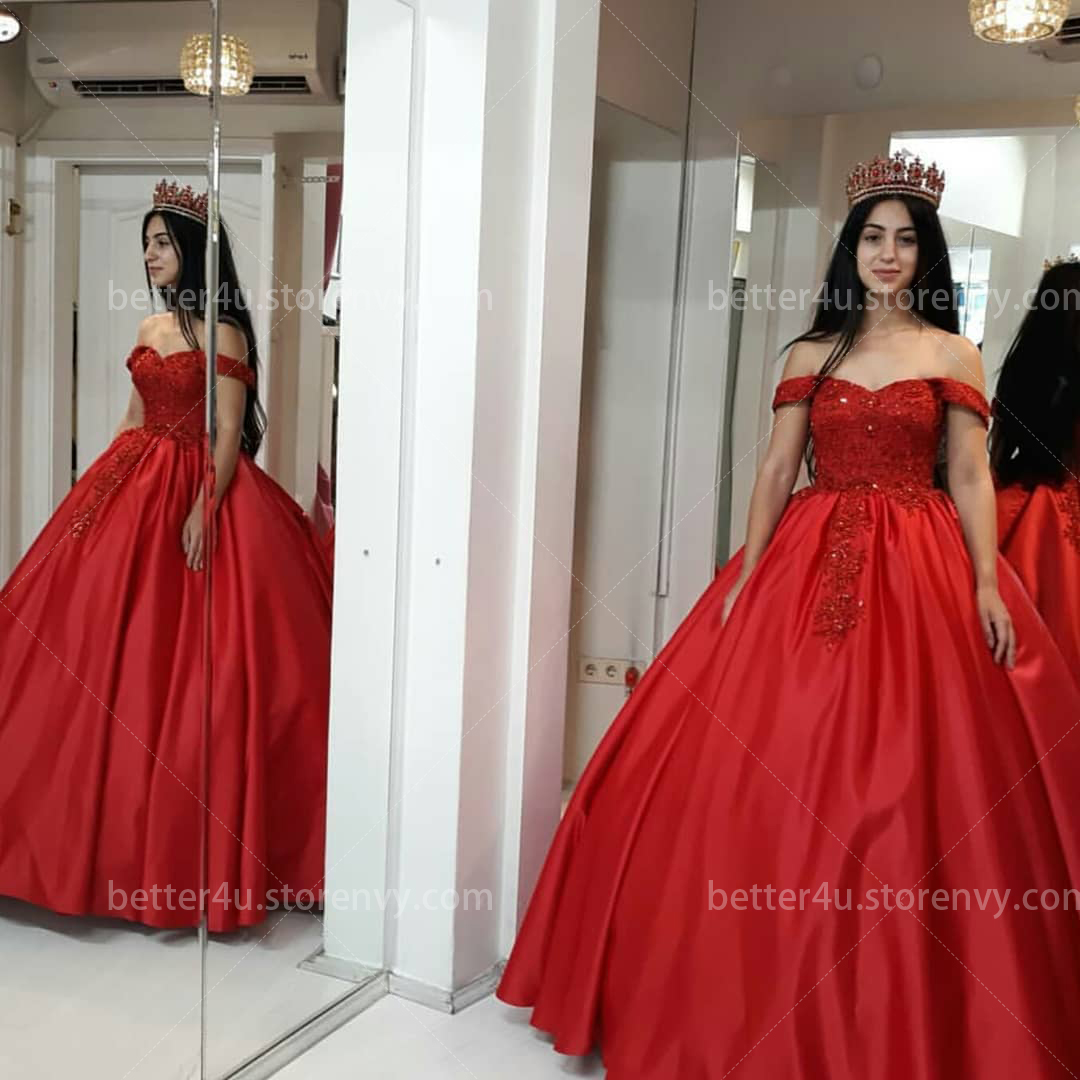2c6a407485ca1 Gorgeous Red Quinceanera Dresses Ball Gown Off Shoulder Lace Appliques  Beaded Lace-up Floor Length Formal Prom Dresses Sweet 16 Dress
