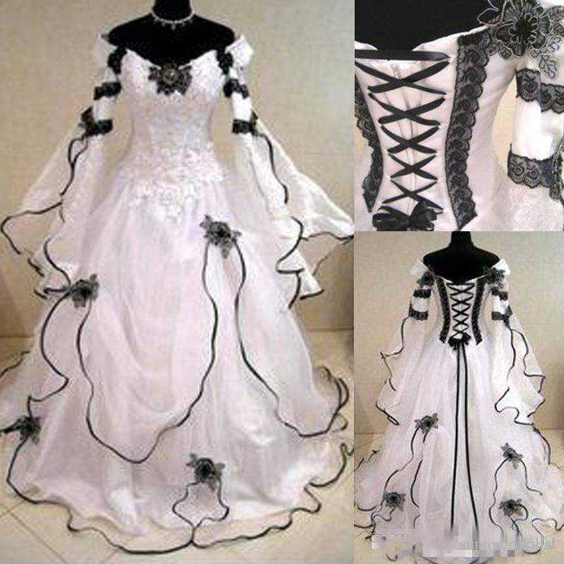 Vintage Plus Size Gothic A Line Wedding Dresses With Long Sleeves ...