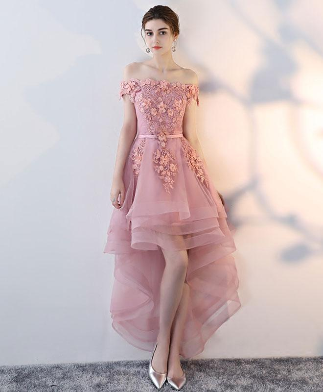 Pink Lace High Low Prom Dress Homecoming Dress Blush Pink Prom Dresses High Low Homecoming Dresses Sexy Party Dress Sold By Prettyladydress