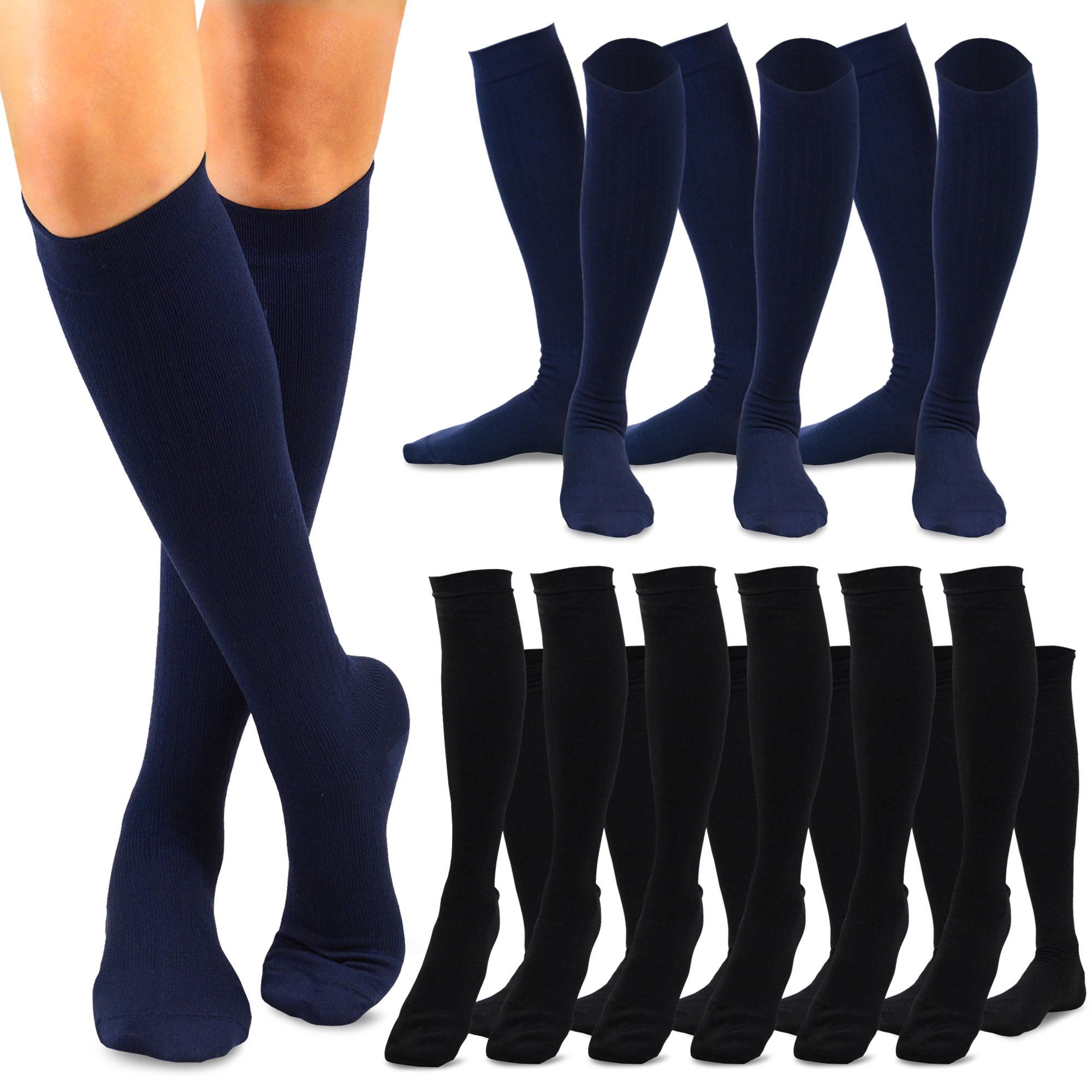 5ac46bf40d TeeHee Microfiber Compression Knee High Socks with Rib 9-Pack (Black ...