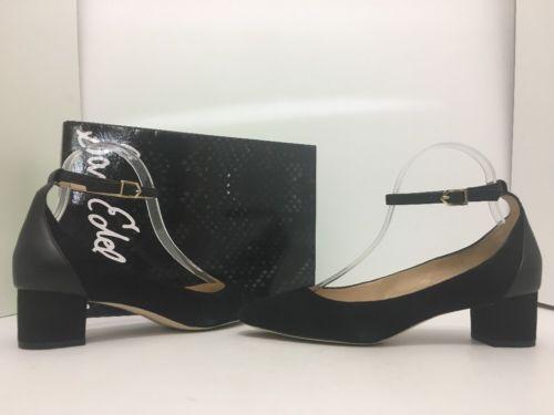 4dd3b094c1d76 Sam Edelman Lola Black Suede Leather Women s Ankle Strap Heels Pumps ...