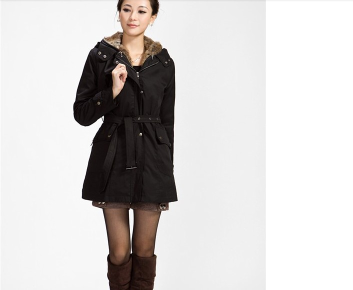 12d0e6ca594 black Faux fur lining women s winter warm long fur coat jacket clothes -  Thumbnail ...