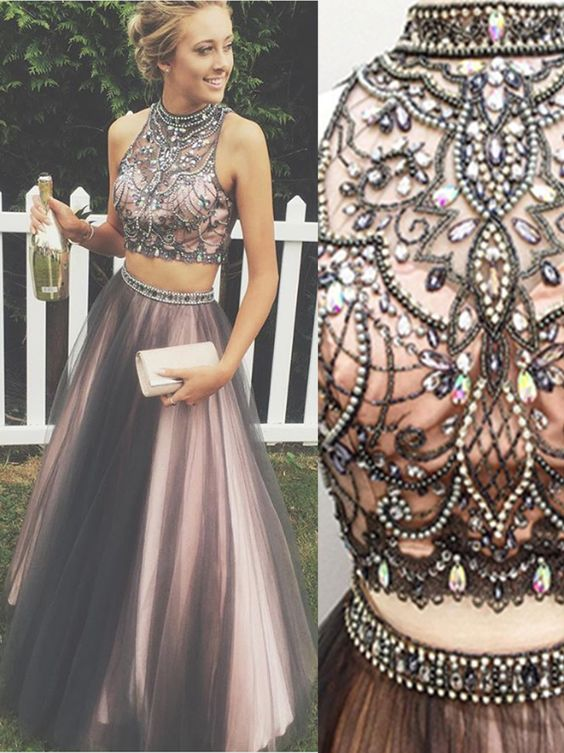 6eaf99507723 New Arrival Black Pink 2 Pieces Ball Gown Prom Dresses,High Neck Beaded Two  Pieces