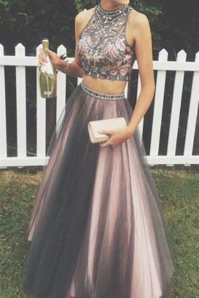 db4c57078dd8 New Arrival Black Pink 2 Pieces Ball Gown Prom Dresses,High Neck Beaded Two  Pieces ...