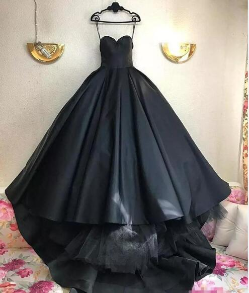 e7404a6eaf Gothic Black Ball Gown Wedding Dresses 2019 Corset Plus Size Simple Satin  Arabic African Cheap African