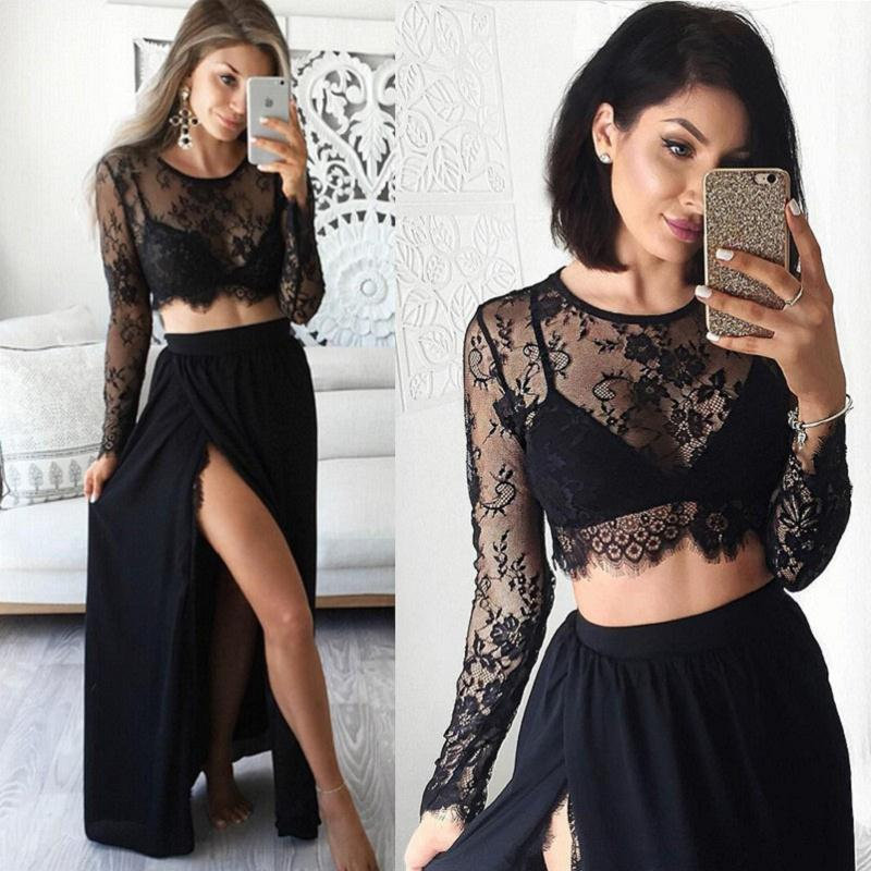Two Piece Black Formal Dressesa Line Scoop Neck Lace Party Gowns