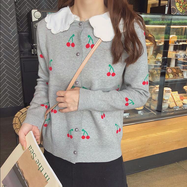 ... Sweet Cherry Detachable Collar Sweater Knit Cardigan - Thumbnail 3 ... f12e89c56
