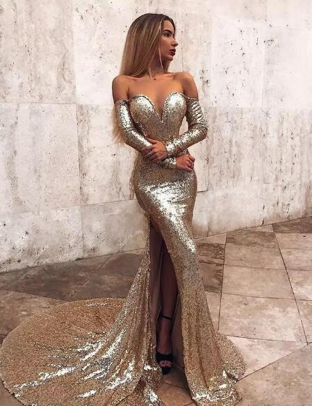 450b22adae77 Mermaid Prom Dresses Off The Shoulder High Side Split Sweep Train Long  Sleeve Sequined Evening Dress