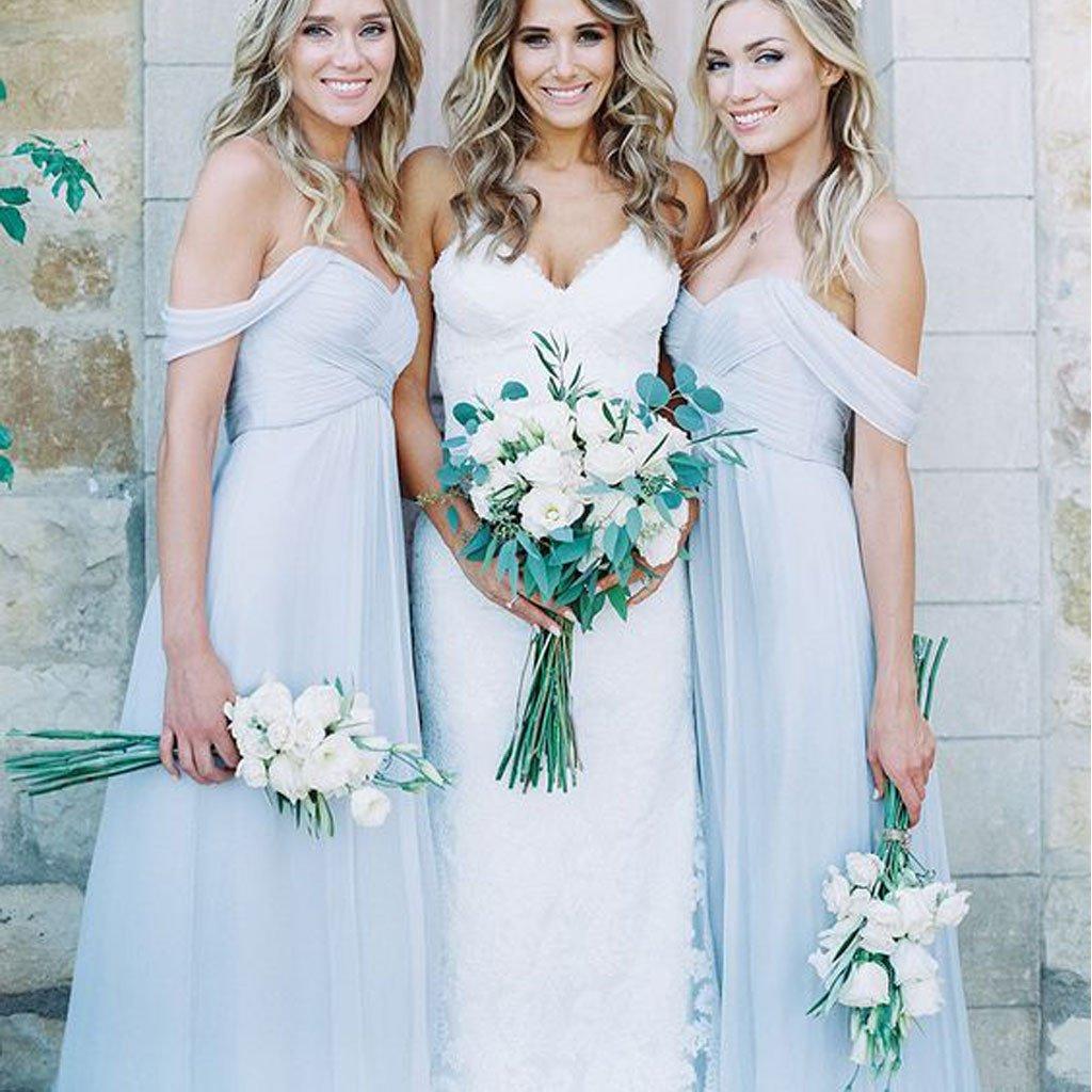 f68960f1b4 Mismatched Different Styles Chiffon Light Blue A Line Cheap Bridesmaid  Dresses