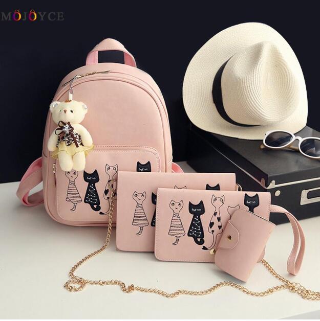 8b277d515e 4Pcs Set Small Backpacks female School Bags For Teenage Girls Black ...
