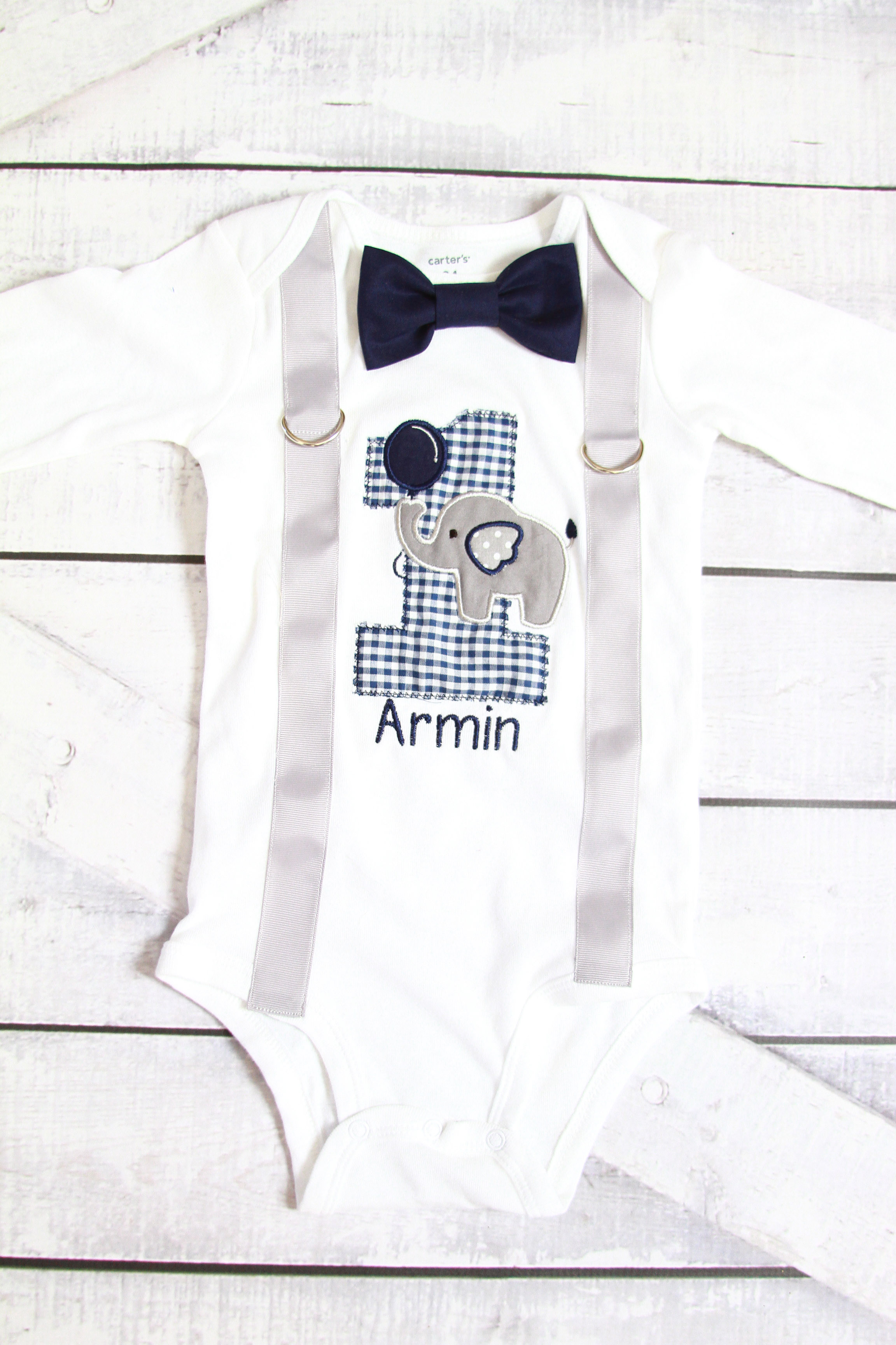 2b89b43334040 Baby boy first birthday Navy Elephants gingham 1 themed outfit cake smash  bodysuit personalized birthday outfit animals themed on Storenvy