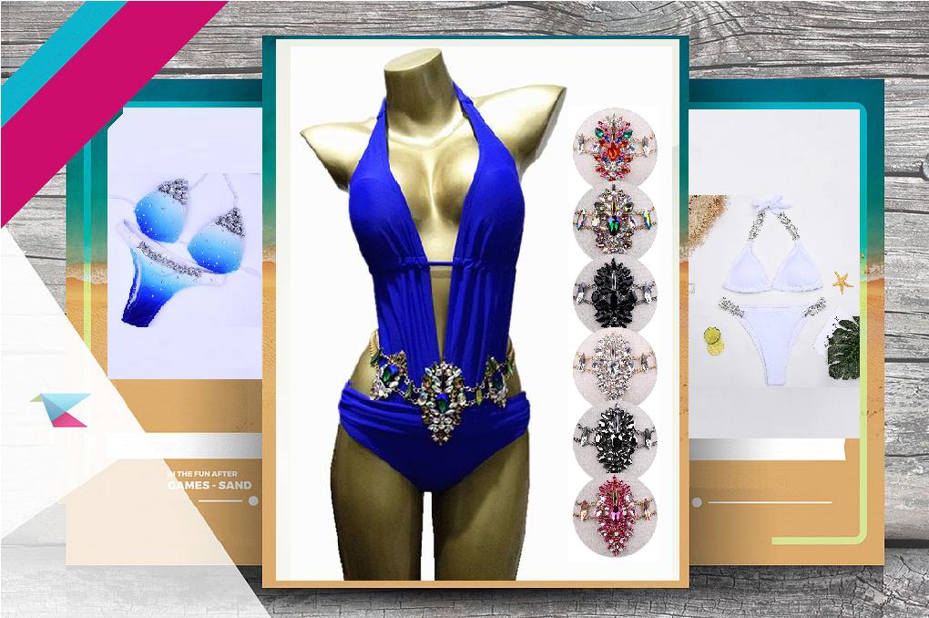 a0feca38ff754 Swimsuit with Rhinestone Waist Belt, Rhinestone Detail Gradient Bikini,  Jeweled Crystal Bikini GRAB '