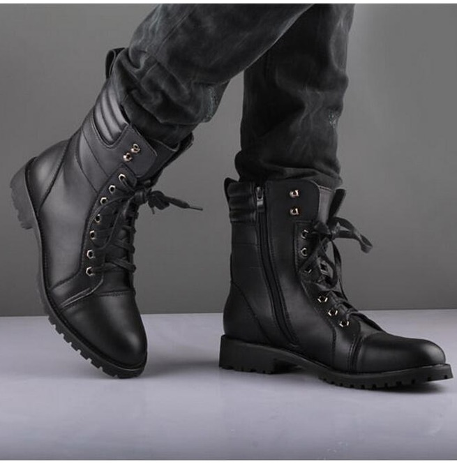 fb5edbfcb95 handmade black ankle high leather boot, men's zipper lace up formal boot