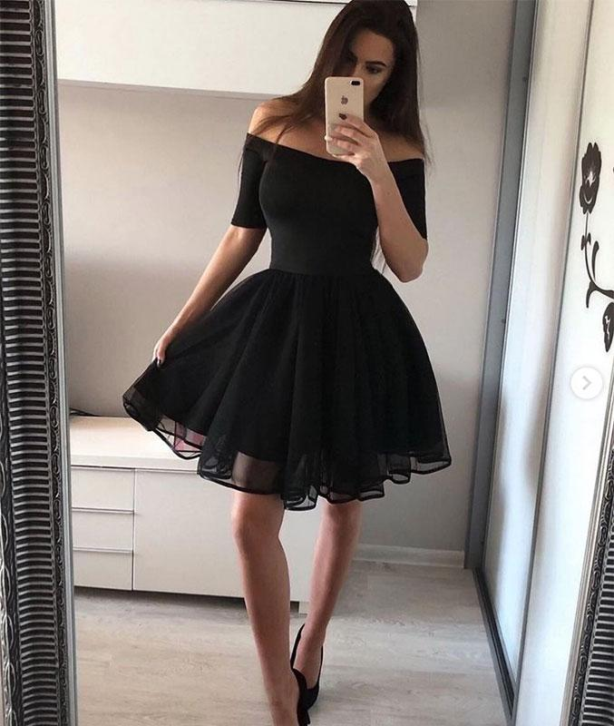 0f631a8d2e1 Black Off the Shoulder Short Sleeves Simple Short Homecoming Dresses ...