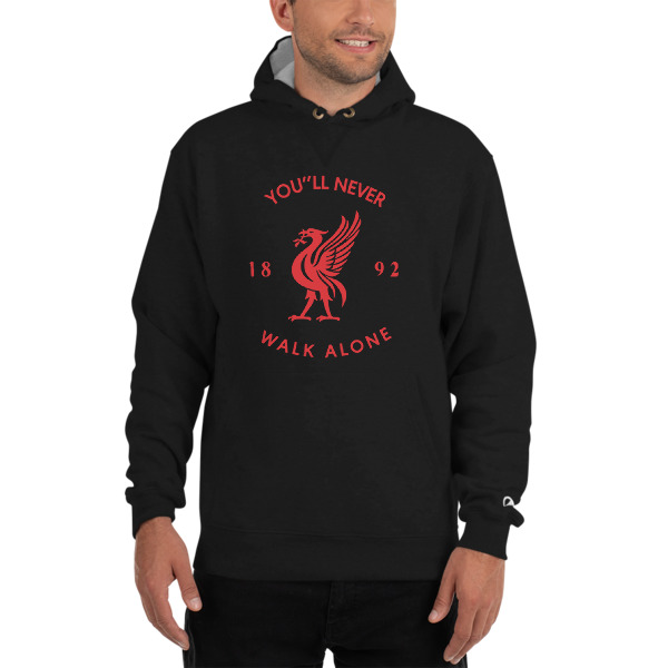 Liverpool FC Grey Black Mens Foootball Cross Neck Hoodie LFC Official