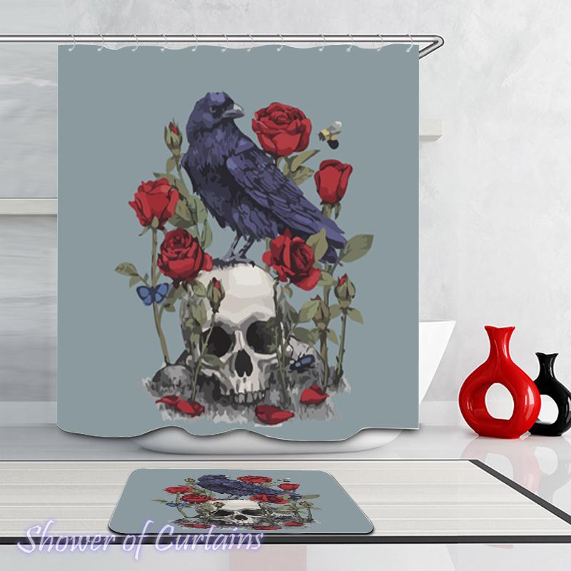Raven Skull And Roses Shower Curtain - HXTC0736 on Storenvy