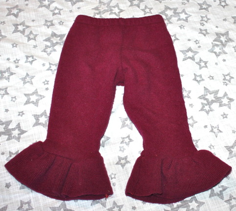 Burgundy Super Soft 100 Merino Wool Baby Ruffle Leggings