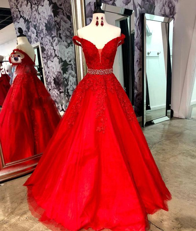 a0dbb831967 Red Tulle Off Shoulder Long Lace Formal Prom Dress