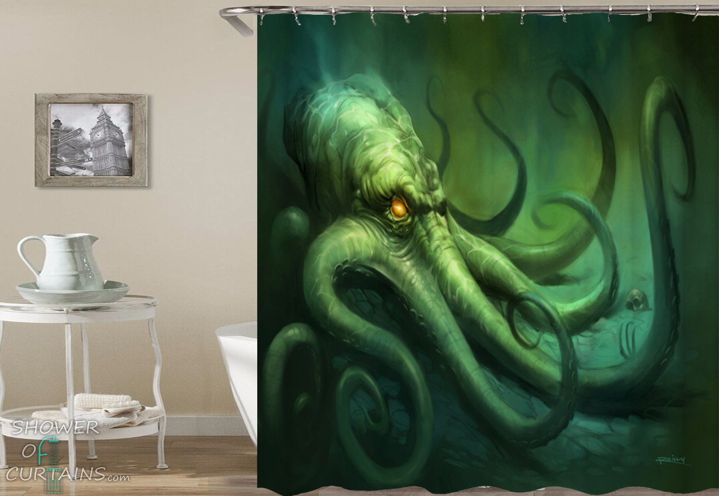 Terrifying Octopus Shower Curtain Hxtc0567 Sold By Shower Of Curtains
