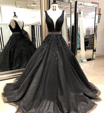 5a540c99f1f Black v neck tulle lace long prom dress