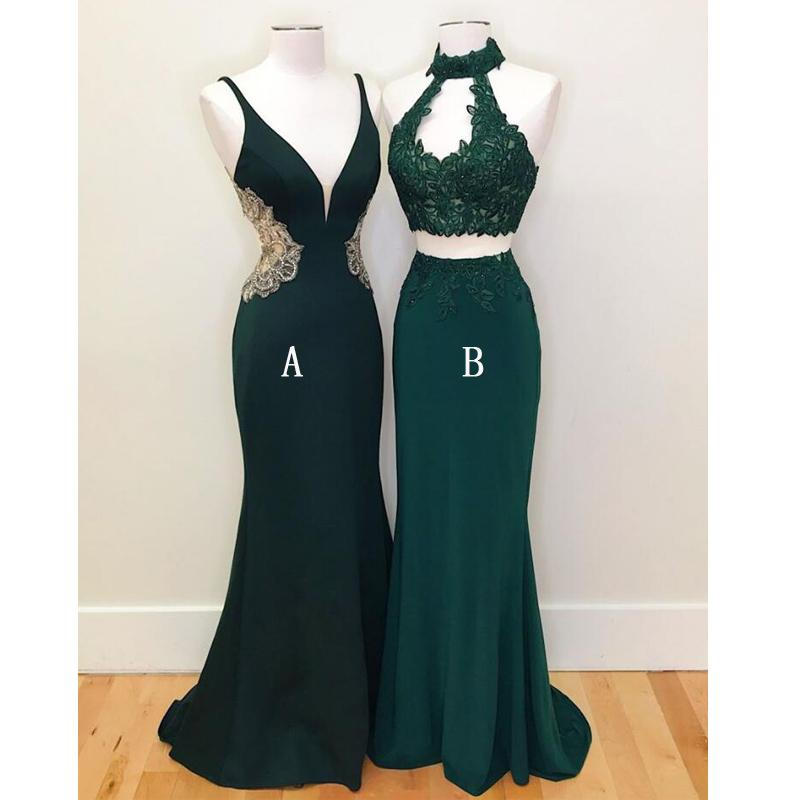 2019 Dark Green Mermaid Long Prom Dressteal Green Two Pieces