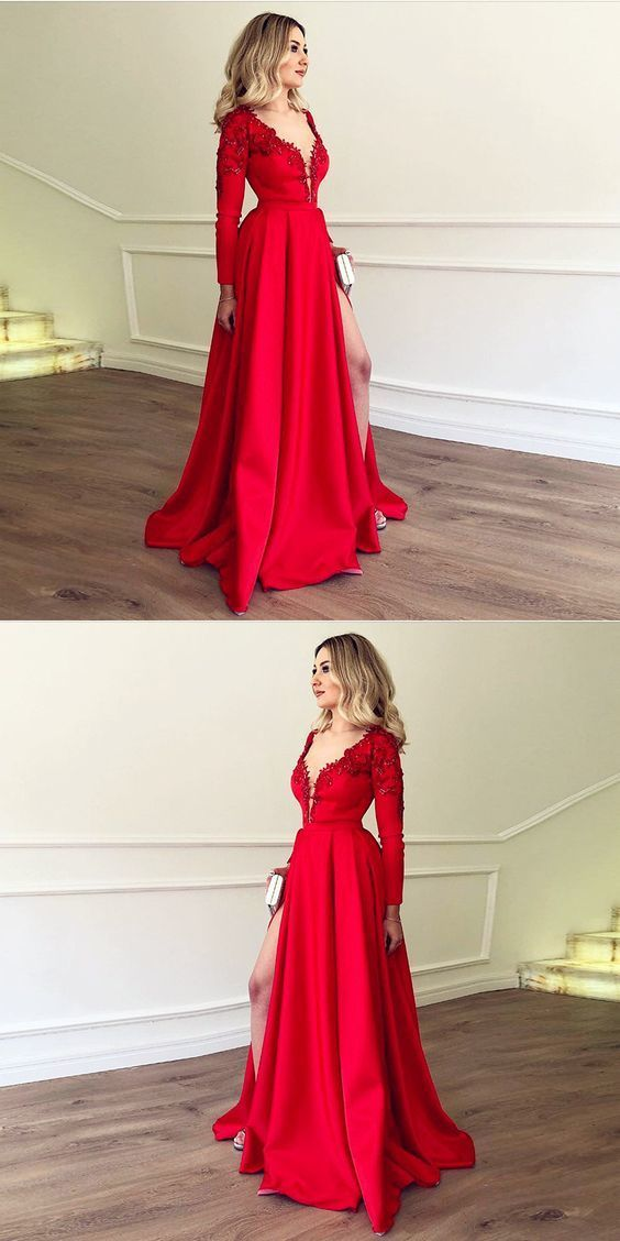 ea2b2a3f543 2019 Prom Dress Long Sleeve Red Deep V Neck Formal Evening Gown With High  Slit ...