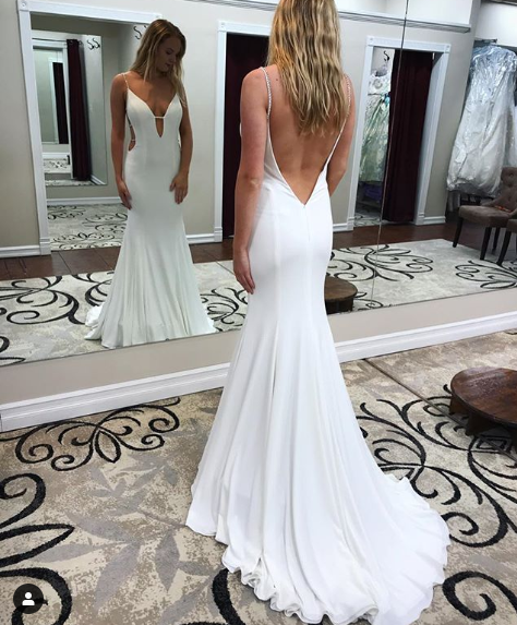 Backless Wedding Dresses.W81 2019 New Fashion V Neck Backless Wedding Dresses Wedding Dress Custom Made Wedding Gown From Fancygirldress